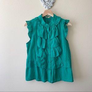 Minuet Petite green sleeveless button down blouse